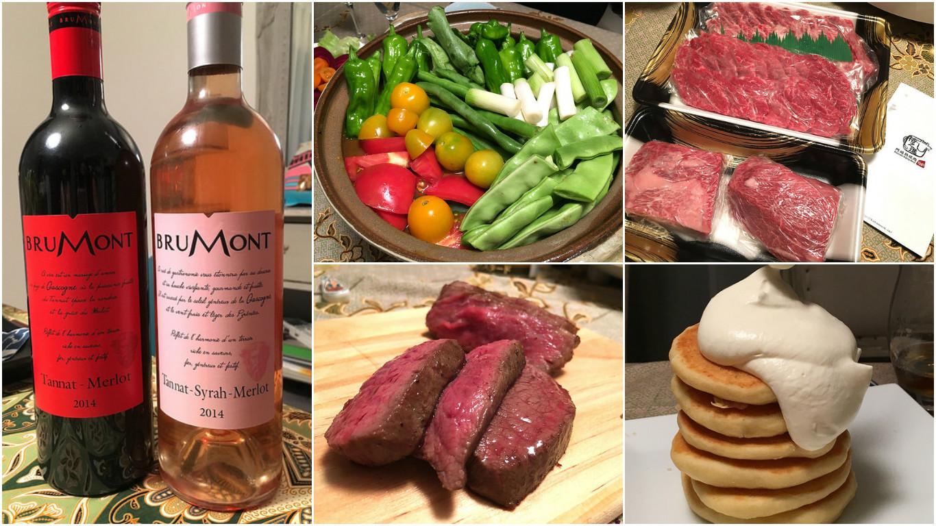 採れたて野菜とお取り寄せ格之進の熟成肉、そしてワインとパンケーキで素敵なホームパーティ@さくら亭
