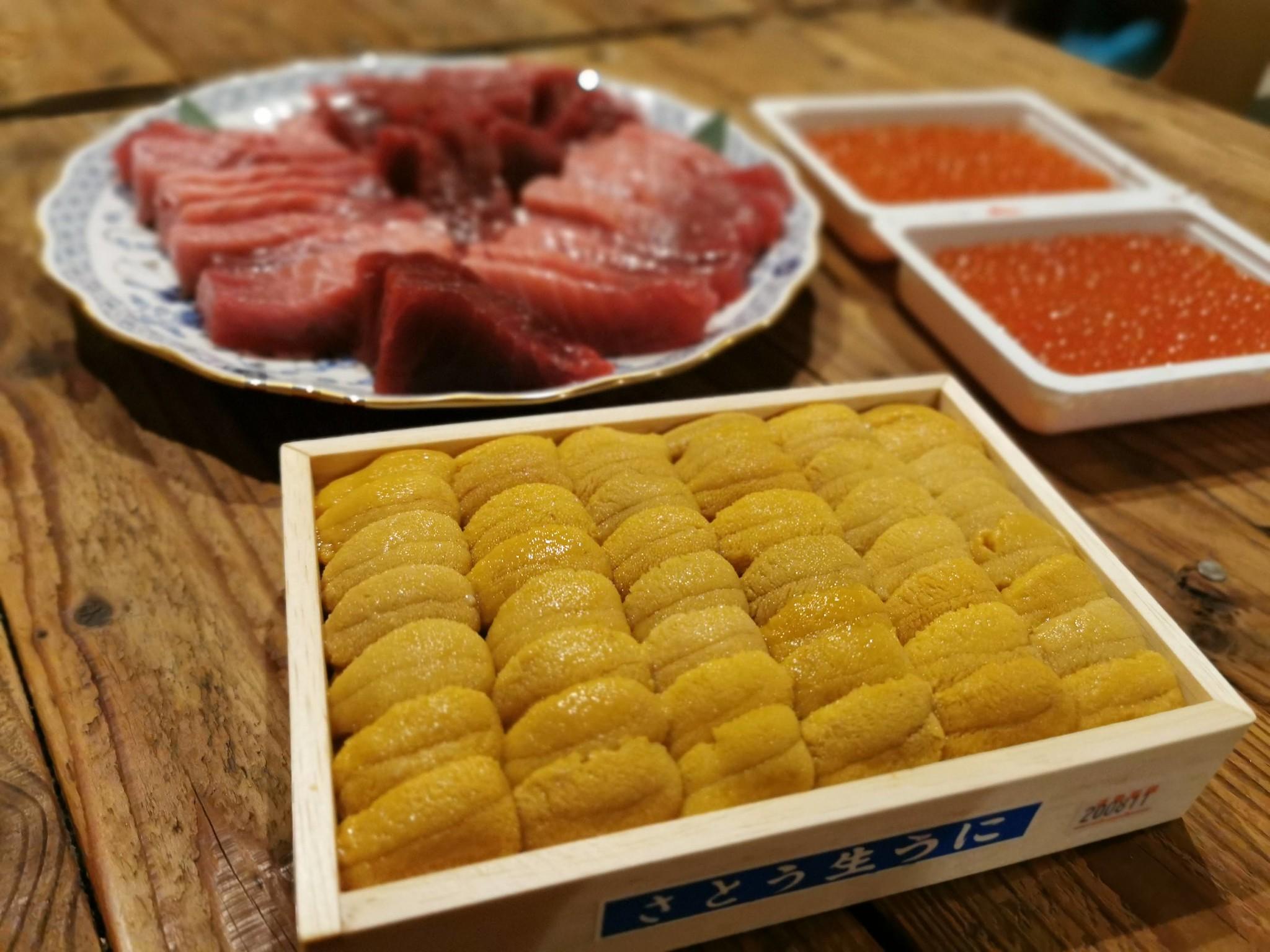 【お取り寄せ】あての極み(堺周商店)@ウニ・いくら・マグロが入った究極の手巻き寿司セットでホームパーティ。